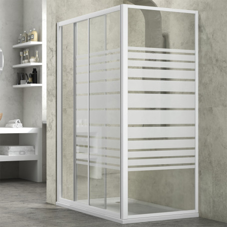 Ogomondo Lato Fisso per Box Doccia Slide Cristallo Temprato Bianco *** CONFEZIONE 1 pz., Misure 78-80,5xh185 cm Serigrafato