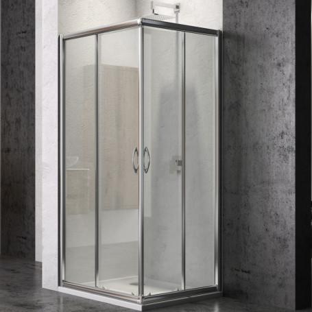 Ogomondo Box Doccia Corner Due Ante Cristallo Temprato  *** CONFEZIONE 1 pz., Misure 72-75x72-75xh185 cm stampato
