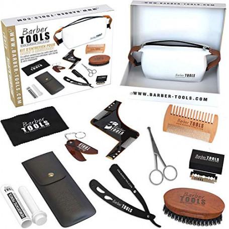 Barber Tools Kit, Set Cofanetto per La Cura e Manutenzione della Barba e Radersi