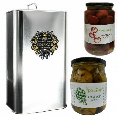 Voglia Di Puglia Olio Extravergine Di Oliva Da Olive Peranzana 3 Litri E Sottoli Senza Conservanti 270 Grammi