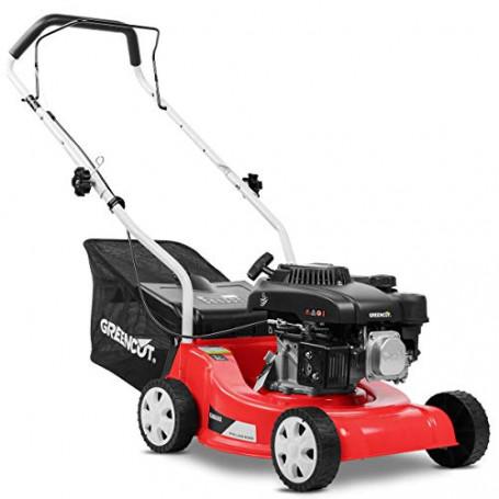 GREENCUT GLM660X - Tosaerba a benzina da 139 cc e 5 cv con avviamento manuale e larghezza di taglio rotativa di 390 mm, altezza
