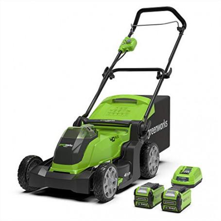 GreenWorks 2504707UC Tosaerba G40LM41K2X Fino 600 m² 2in1 Pacciamare Rasare 50L Cesto Erba Regolazione Altezza Taglio a 5 Livel