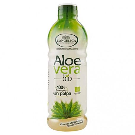 L'Angelica, Aloe Vera da Bere, Succo Puro e Polpa di Aloe Vera Bio con Vitamina C, Integratore Depurativo e Digestivo Senza Glut