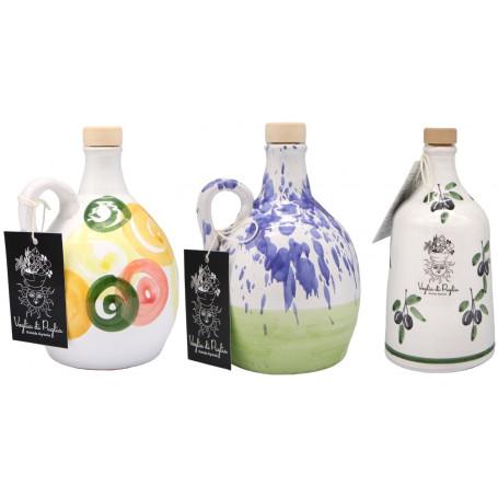 Olio Extravergine Di oliva Italiano Selezione Orci In Ceramica Idea Regalo Profumo Intenso Monovarietale Peranzana 500 ml x3