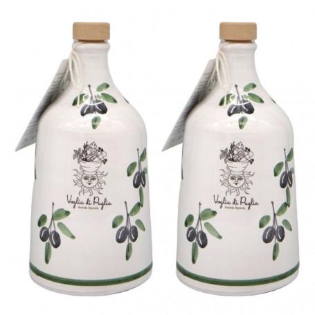 Olio Extravergine Di oliva Italiano 2 Orci In Ceramica Idea Regalo Selezione Profumo Intenso Monovarietale Peranzana 500 ml
