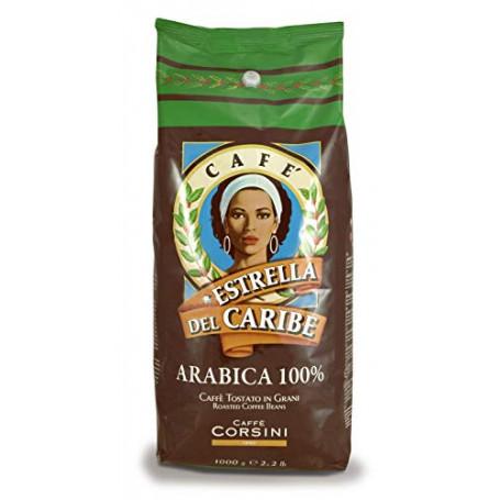 Caffè Corsini Estrella del Caribe, Caffè in Grani Arabica Fine di Santo Domingo, Soave e Vellutato - 1 kg