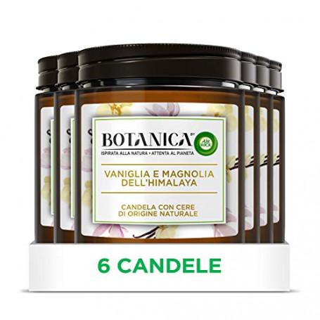 Airwick Botanica, Candele Profumate con Cera di Origine Naturale, Confezione da 6 Candele, fragranza Vaniglia e Magnolia dell'Hi