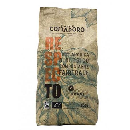 Caffe' Costadoro Caffè Respecto, 100% Arabica, Biologico, Fairtrade, Compostabile In Grani, Sacchetto Da 200G - 200 g